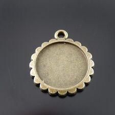 Antique Bronze Tone Alloy Round Cameo Setting Tray 16mm Pendant Charm 30PCS