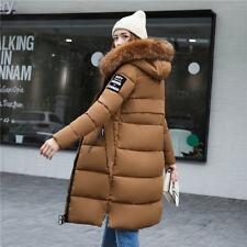 New Women winter coat Down jacket Ladies fur hooded jackets Long puffer parka UK