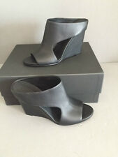 Vince Kaya black leather wedge mule sandals size 9.5 new in box