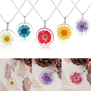 Transparent Round Resin Dried Flower Daisy Pendant Necklace Chain Craft Jewelry
