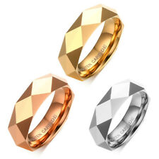 6mm Men Women Tungsten Carbide Wedding Rings Multi-Faceted Fashion Promise Band