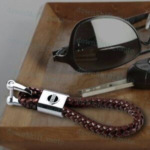 For NISSAN Emblem Logo Key Chain Ring BV Style Leather Gift Decoration BROWN New