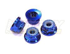 écrous nylstop aluminium a collerette 5 mm (x4 )- couleur bleu
