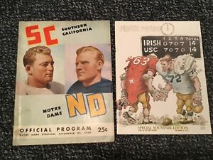 2-Different USC vs Notre Dame Football Programs from 1972 and 1941
