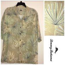 Tommy Bahama Mens Xl Silk Hawaiian Palm Frown Leaves Short Sleeve Pocket Green