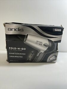 Andis 1875-Watt Fold-N-Go Ionic Hair Dryer, Silver/Black Open Box