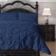 Navy Blue Comforter, Dust Ruffle & 2 Pillow Shams - Pinch Pleat - Full