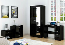 Mirrored Black 4 Piece Furniture Set - Wardrobe Chest Bedside Study Desk