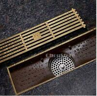 Antique Brass Large Shower Traffic Long Bathroom Floor Drain Linear Grate