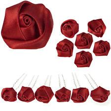 6 epingles pics cheveux chignon mariage pin up rétro roses satin rouge bordeaux