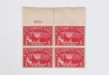 Parcel Post 1c Post Office Clerk 1913 Scott #Q1 Plate Block of 4 Mint H / Tear