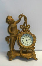 ANTIQUE ART NOVEAU NEW HAVEN CHERUB GILT DESK BOUDOIR MANTEL CLOCK WORKING