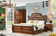 Chesterfield Leder antik Stil Schlafzimmer Set 3tlg. Echt Holz 2 Nachttisch Bett