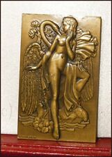 1934 FRANCE ART DECO BRONZE PLAQUE LEDA & SWAN FEMALE NUDES ANIMALS