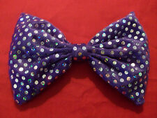 Purple Velvet & Sequin Sparkly Bow Tie On Elastic Fancy Dress Clown Fun