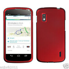 LG Nexus 4 E960 Google Phone Snap-On Case Cover Accessory Solid Titanium Red