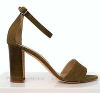 MANOLO BLAHNIK 39 Lauratopri  Textured Green Suede Mid Heel Sandals 8.5