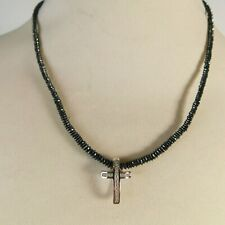 "18 Carat White Gold & Black Rhodium 18"" Necklace & Diamond Cross Pendant BK/JP"
