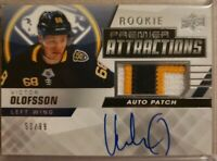 VICTOR OLOFSSON - 19/20 UD PREMIER ROOKIE ATTRACTIONS AUTO PATCH #53/99  3 CLRS