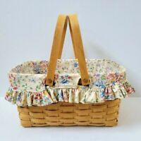 Longaberger Medium Market Basket Protector Spring Floral Liner Combo Set