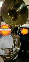 "SOUSAPHONE BIG 25"" BELL OF PURE BRASS METAL IN GOLDEN  + MOUTHPC + CASE BOX"