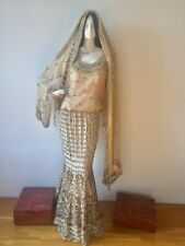 Wedding Asian Bridal Lengha Gold Champagne Very Heavy Beautiful Sparkling Outfit