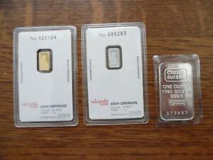Credit Suisse 3 Lot Liberty Bullion Bar 1 gram each Platinum & Gold  1 oz Silver