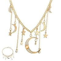 Moon Pendant Choker Chic Necklace Star Multilayer Chain Jewelry Women's Crystal