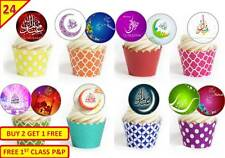 24 Eid Mubarak Cup Cake Edible Wafer Rice Toppers Stand up Decorations