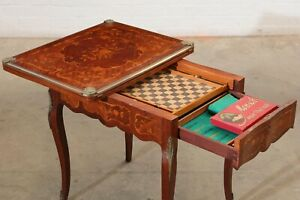 Louis XV Style Gilt Bronze Mounted Marquetry Inlaid Mahogany Tric-Trac Table