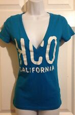 HOLLISTER Turquoise Blue V-Neck Tee Shirt SMALL Cotton Knit Top