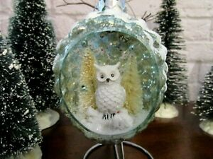 Robert Stanley Glass Pinecone Shaped Mica Owl Trees Retro Christmas Ornament New