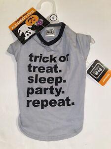 "Simply Wag Halloween Dog Tee Top, ""Trick or Treat, Sleep""Gray, Sm (14-17in), NWT"