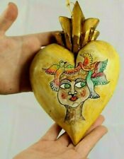 New Wood Hanging Heart w Doves/Angel Face Handmade/Painted Mexican Folk Art