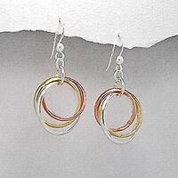 VERMEIL AND .925 SILVER RING STYLE HOOK DROP/DANGLE EARRINGS