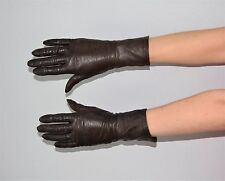 Vintage Dark Brown Leather Buttery Soft Driving Gloves Size 6 1/2 - Philipines