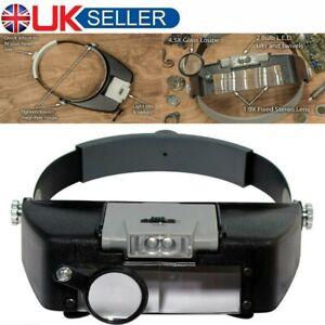 Magnifying Glass Headset LED Light Headband Jewelry Magnifier Loupe Optivisor