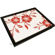 Red Rose Padded Lap Tray Tv Dinner Breakfast Laptop Bean Bag Serving Cushion New