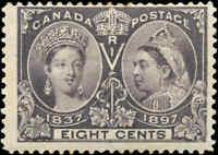 1897 Mint H Canada F Scott #56 8c Diamond Jubilee Stamp