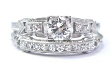 Vintage Platinum Round Cut Diamond Engagement Wedding Set .53Ct