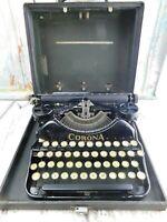 Vintage Antique Corona Four Portable Black Typewriter With Case Classic Piece