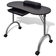 Mesa de manicura plegable con ruedas, Negro/Blanco Uñas Salón De Belleza mueble