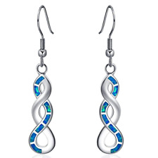 Popular Women White Gold Created blue Fire Artificial Opal CZ Dangle Hook gift
