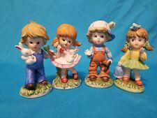 Vintage Homco Set Of 3 Kids Boy&Girl W/bunnies Boy&Girl W/ Birds Pristine Cond