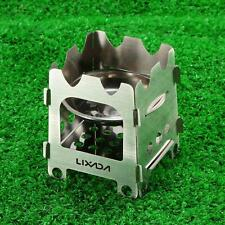 Outdoor Folding Stainless Steel Wood Stove Alcohol Stove Camping Fishing US O1N5