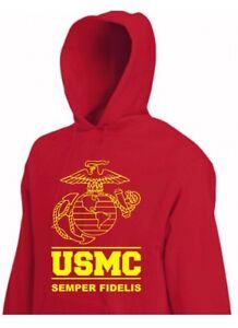 Hoody Usmc Insignia Semper Fidelis Hooded Sweater US Army Marine Usmc Vietnam