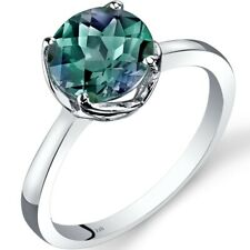14K White Gold Created Alexandrite Solitaire Ring 2.25 Carat Size 7