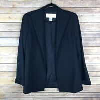 Doncaster Womens Blazer Wool Stretch Textured Open Front Pockets Navy Blue 8