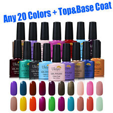 Ukiyo Any 20 Colors UV Gel Nail Polish + Top&Base Coat Nail Art Manicure Kit