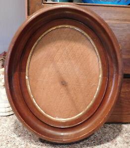 "Antique Victorian  Deep Well Oval Shadowbox Walnut Frame Fit  6.75 x 8.75 """